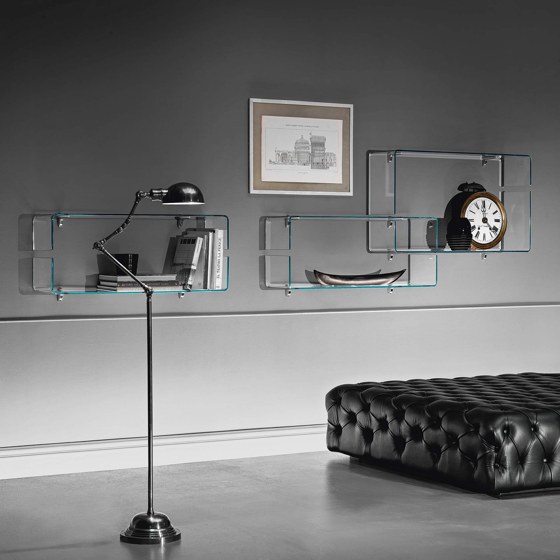 Babila curved glass shelves